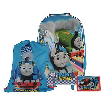 Team Thomas The Tank Engine 3pc Children's Luggage Set Wheeled Bag