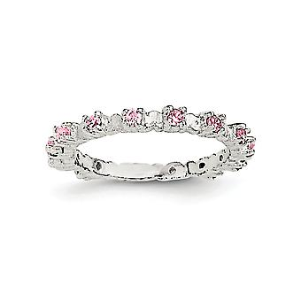 925 Sterling Silver Polished Pink and White CZ Cubic Zirconia Simulated Diamond Kids Ring - Ring Size: 3 to 4