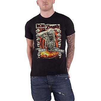 Rob Zombie T Shirt Born To Go Insane Stage Band Logo Official Mens New Black