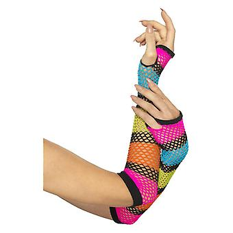 Fishnet Gloves, Long, Neon, with Black Stripe Fancy Dress Accessory