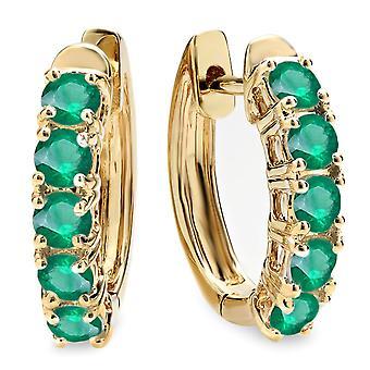 Dazzlingrock Collection 1.00 Carat (ctw) 18K Round Emerald Ladies Huggies Hoop Earrings 1 CT, Yellow Gold