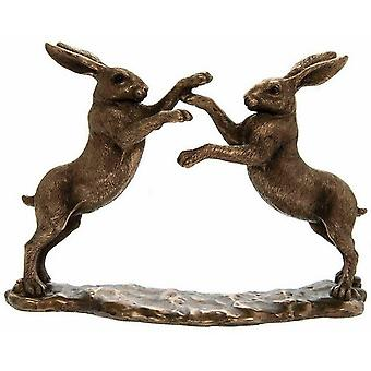 Twin boksning harer bronze effekt ornament figurine Hjem Ornament gave boxed