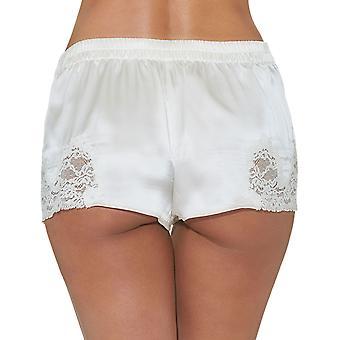 Aubade VI61 Women's Crepuscule Satine Nacre Off White Lace Silk Pajama Pyjama Short