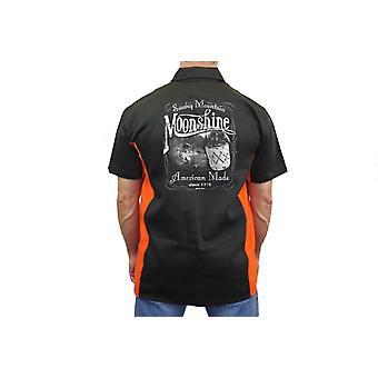 バイク メカニック作業シャツ「スモーキーマウンテン密造」ブラック/オレンジ