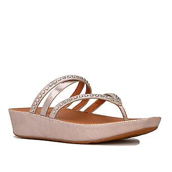 Womens Fitflop Linny Criss Cross Toe Thong Sandals In Blush / Metallic Nude
