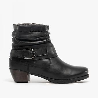 لوتس ملالا السيدات الجلود الكاحل أحذية الأسود