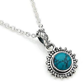 Chain pendant 925 Silver turquoise incl. silver chain (x 2 mm/no. 64)
