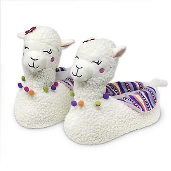 Alpaka Plüsch Hausschuhe Lama Slipper, Größe M weiß, bestickt, aus 100% Polyester, im Polybeutel.