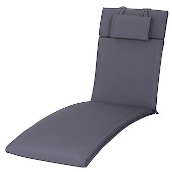 Outsunny Garden Sun Lounger Cushion Replacement Thick Sunbed Reclining Chair Relaxer Pad with Pillow - Grey