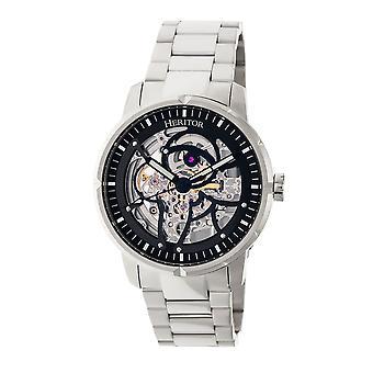 Heritor Ryder automático esqueleto Dial pulseira relógio - prata/preto