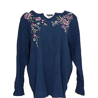 Style & Co. Women's Plus Top Fake Henley Long Sleeve Embroidments Blue