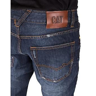 CAT Lifestyle Mens Trax Faded Slim Leather Patch Trouser Jeans