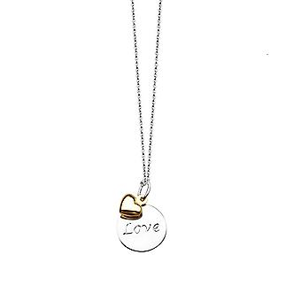 14k Yellow Gold and 925 Sterling Silver 14kt Love Disk 14k Heart Lobster Claw Closure 18 Inch Jewelry Gifts for Women