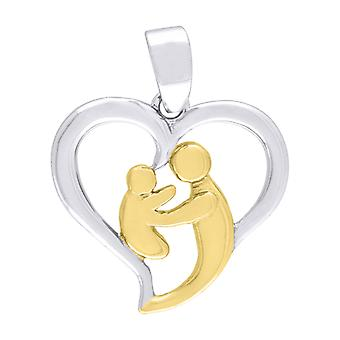 925 Sterling Silver Two tone Polished Mother Child Love Heart 2.05gm Womens Pendant Necklace