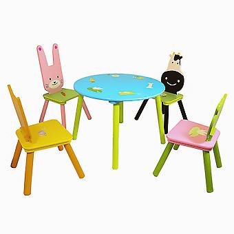 Charles Bentley Children's Animal 5 Piece Furniture Wooden Wipe Clean Table and Chair Set Pink Blue Playroom