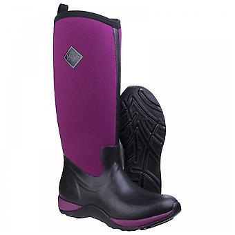 Muck Boots Ladies Arctic Adventure Black + Maroon Fleece Lined Wellington Boots