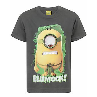 Minions Boys T-shirt Despicable Me Blumock Character Kids Charcoal Top