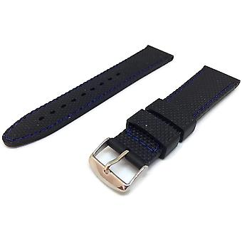 Black rubber watch strap textured with blue stitching size 16mm to 22mm