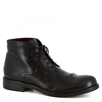 Leonardo Shoes Men's handmade wingtip lace-ups ankle boots black calf leather