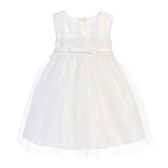 Sweet Kids Baby Girls' Vintage Metallic Lace & Tulle Dress 24M X White Sk B473
