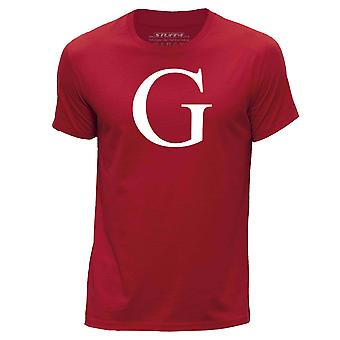STUFF4 Men's Round Neck T-Shirt/Alphabet Letter Initial G/Red