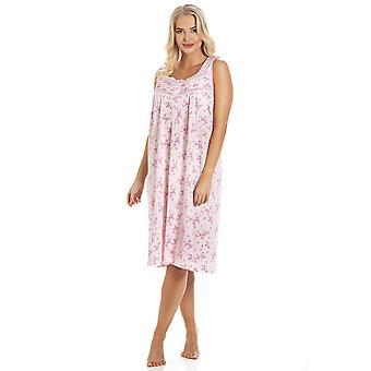 Camille rosa floral print ermeløs nattkjole