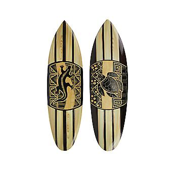 Set Of 2 Hand Carved Wood Surfboards Tiki Decor Lizard Turtle Wall Hanging Art