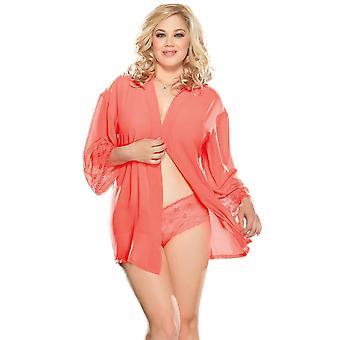 Plus Size Soft Chiffon Kimono Robe Set Sleepwear