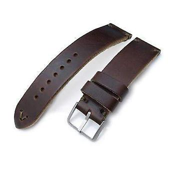 Strapcode leather watch strap 20mm, 22mm miltat horween chromexcel watch strap, matte brown, military green stitching