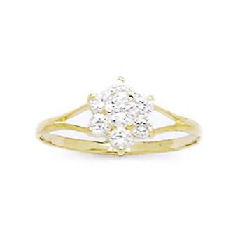 14k Yellow Gold CZ Cubic Zirconia Simulated Diamond Size 5.5 Flower for boys or girls Ring