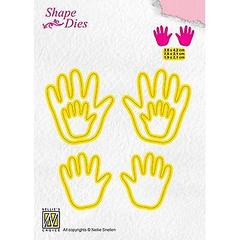 Nellie's Choice Shape Die - Baby hands SD165 3,8x4,2+2,8x3,1+ 1,9x2,1cm