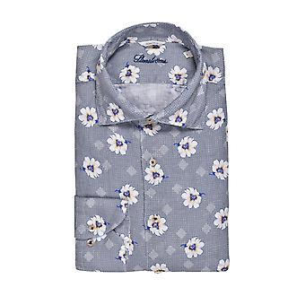 Stenstroms Linen Fitted Long Sleeved Shirt Navy Floral