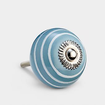 Keramische deurknop - Grijs / Wit - Streep