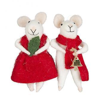 Set of 2 Novelty Christmas Mice Decorations