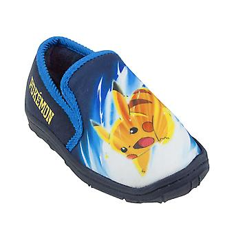 Pokemon Pika Pikachu Character Blue Boy's Slippers