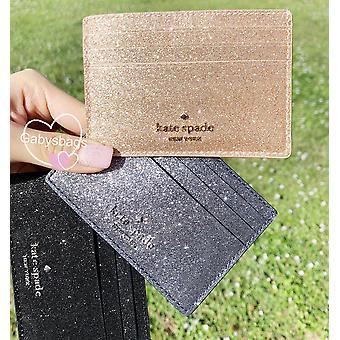 Kate spade joeley glitter small slim card holder rose gold
