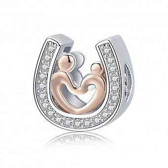 Sterling Silver Charm Horseshoe With Heart - 5768