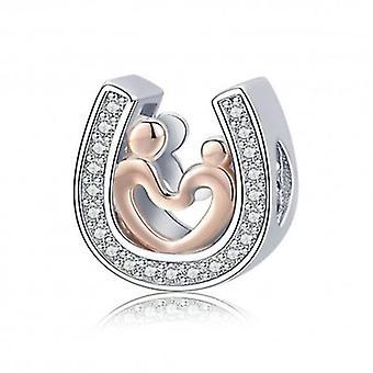 Sapato de charme de prata esterlina com coração - 5768