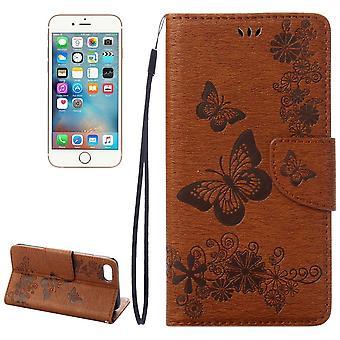 Para iPhone 8,7 Wallet Case, Elegante Butterflies En relieve Cubierta de Cuero, Marrón