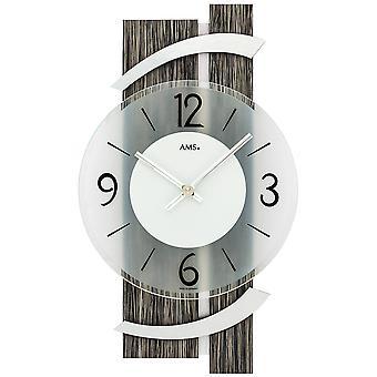 AMS 9547 wall clock quartz analog modern black wood finish with aluminium grey