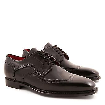 Handmade men's derby plain cap half brogues shoes