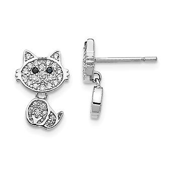 8.68mm Cheryl M 925 Sterling Sølv CZ Cubic Zirconia Simuleret Diamond Cat Post Øreringe smykker gaver til kvinder