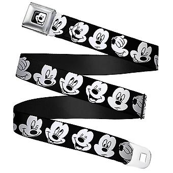 Mickey Mouse Expressions Close-Up Webbing Seatbelt Buckle Belt