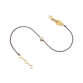 Anklet 0.10 carat Diamond Solitaire 18K Gold, on Thread - Yellow Gold, Chocolate