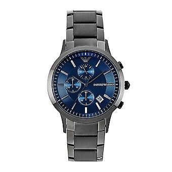 Orologio Armani Ar11215 Grey & Blue Inox Steel Chronograph Mens
