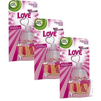 3 X Air Wick Electrical Plug In Air Freshener Oil Refills - Love
