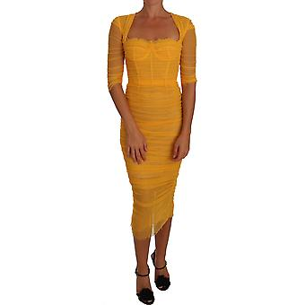 Dolce & Gabbana Yellow Tulle Bustier Sheath Bodycon Dress DR1475-40