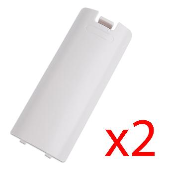 2x White Battery Wireless Controller Back Cover for Wii Remote