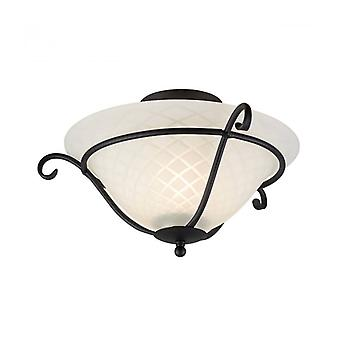 Torchiere Ceiling Light, Iron And Glass, Black