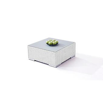 Polyrattan Cube table 75 cm - satiné blanc